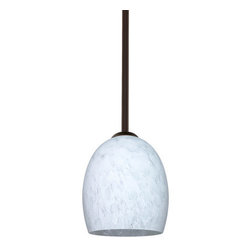 "Besa Lighting - Besa Lighting 1TT-169719 Lucia 1 Light Stem-Hung Mini Pendant - The Lucia is a curvy bell-bottomed shape, that fits nicely into any contemporary design. Our Carrera glass is a classic yet modern decor that gives off a soft white light. Clear molten glass is rolled in alabaster powder like frit, and then blown into shape with a semi-clear frosted white inner finish. This decor is created by rolling molten glass in small bits of white called frit. The smooth satin finish on the clear outer layer is a result of an extensive etching process. This blown glass is handcrafted by a skilled artisan, utilizing century-old techniques passed down from generation to generation. Each piece of this decor has its own artistic nature that can be individually appreciated. The stem pendant fixture is equipped with an adjustable telescoping section, 4 connectable stem sections (3"", 6"", 12"", and 18"") and low Profile flat monopoint canopy.Features:"
