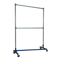 Z Racks - 5 ft. Heavy Duty Z-Rack Double Rail Garment R - Base Color: Blue. 500lb capacity. 14 gauge, 60 in. Long steel base (Environmentally safe powder coated finish ). 16 gauge, 84 in. upright bars and double hang rails. 1 5/16 outside diameter upright bars and hang rail. Grey non-marking soft rubber with TP center 4 in. casters. Made in the USA. 63 in. L x 23 in. W x 91 in. HThis Z-Rack is designed to hold up to 500 lbs of apparel while maximizing all 5 ft. of length. The vertical hanging space is 7 ft. and because the two rows are placed on top of each other, the rack will not tip under a heavy load. The second hang rail can be placed anywhere desired along the uprights.