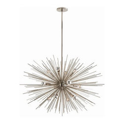 """Arteriors Home - Arteriors Home Zanadoo Polished Nickel Chandelier, Large - Arteriors Home 89989 - Arteriors Home 89989 - The Large Zanadoo 12L Chandelier hangs at an adjustable height of 33"""" - 45"""" and a striking 36"""" diameter. It is a glamorous reference to the starburst motif of the 60s and 70s but reinterpreted for a contemporary aesthetic. Finished in polished nickel, this dramatic fixture will leave your living room, dining room or foyer dazzling beneath its presence. Includes cylindrical ceiling mount and (1) 6"""" and (2) 12"""" rods."""