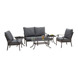 Great Deal Furniture - Van Ness 6-piece Outdoor Chat Set - If you're looking to make a major upgrade to your outdoor enjoyment, the Van Ness 6-Piece Charcoal Grey Cast Set is the place to start. Enjoy the outdoors again with out stylish outdoor set that includes two outdoor chairs, two end tables, an outdoor sofa and a table. Provide your friends and family plenty of space to relax and enjoy the warm weather.
