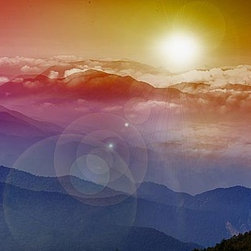 Magic Murals - Mountain Morning Panorama Wall Mural -- Self-Adhesive Wallpaper by MagicMurals - In this panoramic mural, the sun rises over the mountains and clouds of Beijing, China.  Certainly not the view of the area one is used to seeing.  The sun beams in the background while a single tree in the foreground greats the sunrise and the new day.