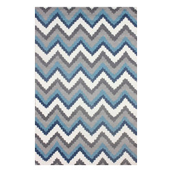 """nuLOOM - Contemporary 7' 6"""" x 9' 6"""" Blue Multi Hand Hooked Area Rug Chevron UZB47 - Made from the finest materials in the world and with the uttermost care, our rugs are a great addition to your home."""