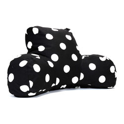 Majestic Home - Indoor Black Large Polka Dot Reading Pillow - Whether you're settling in with a good book, gearing up for your favorite show or just chilling out, you're in good arms with this reader. Another reason to relax? It's so easy to care for. Simply unzip the slipcover and toss in the machine.