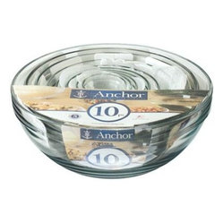 Anchor Hocking - Mixing Bowl Value Pack 10 Pc - 10 Piece Set Anchor Hocking clear glass 10 Piece Mixing Bowl Set Contains: 1 oz., 2 oz., 4 oz., 6 oz., 10 oz., 16 oz.,1 qt., 1.5 qt., 2.5 qt. and 3.5 qt. Dishwasher safe Shrink Wrap