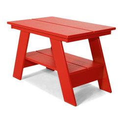 Loll Designs - Adirondack Table, Apple Red - Our modern Adirondack Table has been redesigned with all recycled poly and hidden fasteners. The Adirondack Table is available in all colors and with a convenient lower shelf for extra storage, it works well with any of our outdoor lounge chairs.