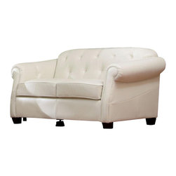Coaster - Coaster Kristyna Bonded Leather Button Tufted Loveseat in White - Coaster - Loveseats - 502552 - Create a cool and classic look in your living room or sitting area with this elegant upholstered loveseat. The piece features a high attached back cushion with rich button tufting with sloped rolled arms and deep welted box seat cushions for great comfort and style. Covered in a soft and luxurious white bonded leather this loveseat is sure to complement your living room decor.