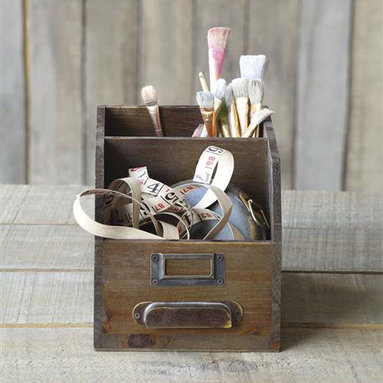 Card Catalog Desk Organizer - This multipurpose workspace organizer holds pens, paperclips, and any other desk trinkets searching for a home. Constructed of wood with metal accents, this delightfully rustic box resembles an old card catalog drawer and it's great for holding onto your art supplies, mail, and favorite recipes.