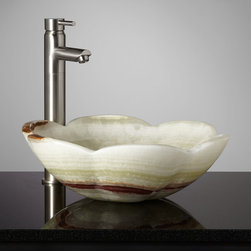 Thermi Green Onyx Flower Vessel Sink - Carved into a pretty blossom shape, the unique Thermi Green Onyx Flower Vessel Sink will enchant guests and inspire your decor. Crafted of real stone.