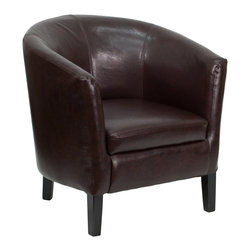 Flash Furniture - Flash Furniture Accent Chair X-GG-LERRAB-NB-11-S-OG - This brown leather barrel shaped side chair and reception chair from Flash Furniture is the perfect complement to any office styling. From a rustic decor to executive styling, anyone will be happy with the look these side chairs provide. [GO-S-11-BN-BARREL-GG]