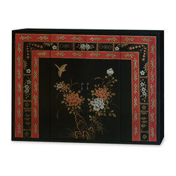 "China Furniture and Arts - Tibetan Flower Design Wall TV Cabinet - Hand painted with a Tibetan style bird and flowers motif, this wall cabinet will adequately house a flat screen television and add style to your viewing space. Double-hinged doors fold to the sides for unobstructed viewing to reveal a spacious interior that measures 45.5""W x 3.75""D x 33.5""H. Mounting wares are included. Matte black finish. Fully assembled."