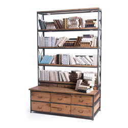 Baxter Bench/Bookcase with natural finish - Baxter Bench/Bookcase is beautiful addition to an office or work room it also has drawers which has ample of storage space.Made from steel and wood with a natural finish makes it a great pick for a transitional style home.