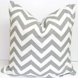 Pillows - Gray Chevron Pillow Cover