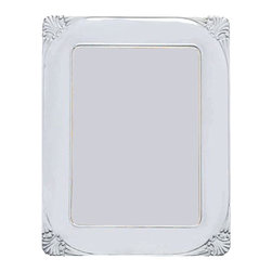 """Silverstar International - 5""""x7"""" Danielle II Silver Sterling Picture Frame - Memorialize your love for each other by displaying your wedding photograph in our Danielle 15th anniversary photo frame. Featuring a gorgeous shell sterling picture frame design in each curved corner, the Silverstar International 925 bi-laminated Sterling Silver picture frame is meticulously manufactured to an aluminum base for strength & attached to a veneer mahogany wooden back and easel and slide tab closures that allow for easy access to your photos. Every Silverstar picture frame is designed with a tarnish resistant surface for easy cleaning and glare resistant glass."""