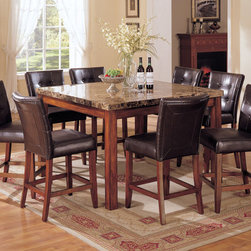 "Acme - 9 PC Cherry Brown Wood Finish Counter Height Table Set with Marble Top - 9-Piece cherry brown wood finish counter height table set with marble top with faux leather Padded Parson Chairs. set contains: 1 Table and 8 - faux leather Padded Parson Chairs. Table measures: 54""W x 54""Dx 36""H. Parson dining chair measures: 24""H seat. Some Assembly Required."