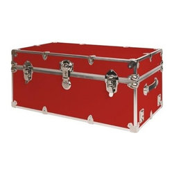 Rhino - Rhino Armor Storage Trunk in Red (Super Jumbo - Choose Size: Super Jumbo: 44 W x 24 D x 22 H (69 lbs.)Two nickel plated steel universal wheel adapter plates mounted on the side of the trunk. Laminated armor exterior. Strong hand-crafted construction using both old world trunkmaking skills and advanced aviation rivet technology. Steel and aluminum aircraft rivets used to ensure durability. Heavy duty proprietary nickel plated steel hardware. Steel lid hinges and steel lid stay for keeping the lid propped open. Tight fitting steel tongue and groove lid to base closure to keep out moisture, dirt, insects and odors. Stylish lockable nickel plated steel trunk lock. Loop for attaching a padlock. Genuine leather handles. American craftsmanship. Self-sticking adhesive on the back of the name plate. Upper or lower case lettering. Lettering is in black. The name plate can take 24 characters per line. The max number of lines is 2. Warranty: Lifetime warranty includes free non-cosmetic repairs for the life of the trunk. Made from smooth 0.38 in. premium grade baltic birch hardwood plywood. No paper or plastic lining anywhere avoiding peeling or tearing. Name plate made from plastic. No assembly required. Name Plate: 3 in. L x 1 in. H (0.5 lbs.)The hand-crafted American Made Rhino Armor Cube is constructed from the highest quality components. Rhino Armor is an exterior 1000d Cordura Nylon textured sheathing that's highly resistant to water penetration, denting and scratching. The Rhino Armor Cube is conveniently sized and ruggedly built. In fact, its strong enough to stand on ! The Rhino Armor Cube is easily stowed and can be securely locked to insure the safety of personal items. The Rhino Armor Cordura sheathing ensures that Rhino Armor Cubes have the most durable exterior available in the trunk industry. Rhinos brushed bright metal finish name plates are a great addition to any Rhino Trunk. Most people put their full name on, but its your choice. You can have your nam