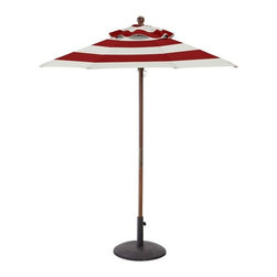 Round Market Umbrella, Canvas, Cherry Red Stripe - Part bistro, part boardwalk café, this umbrella is ready for any occasion. Mainly, my barbecue.