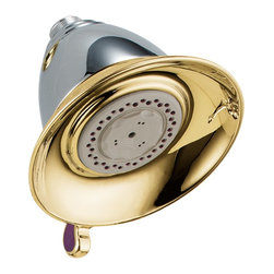 Delta - Victorian Touch-Clean Multi-Function Showerhead in Chrome/Polished Brass - Delta RP34355CB Victorian Touch-Clean Multi-Function Showerhead in Chrome/Polished Brass. The Victorian Collection for the bath exudes a charming, old-world feel. Available as a suite with matching accessories, the look can be carried seamlessly throughout your bath. The soft curves of the Victorian Collection and the intricate, handcrafted details make it a beautiful bath collection reminiscent of a past era. Offered in a multitude of finishes, the Victorian Bath Collection comes with a full suite of coordinating accessories, providing a decorative look throughout the bath.Delta RP34355CB Victorian Touch-Clean Multi-Function Showerhead in Chrome/Polished Brass, Features:Coordinates with any traditionally decorated bath