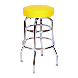 "Richardson Seating - Richardson Seating Retro 1950s 30"" Backless Swivel Bar Stool with Yellow Seat - Richardson Seating - Bar Stools - 1952YEL - Richardson Seating Floridian's Floridian collection ships within 2 business days as quick ship items. The 50's retro look bar stool collection is back with added comfort and stylish design. The Floridian collection are commercial bar stools made in the USA and equally ideal for residential use."