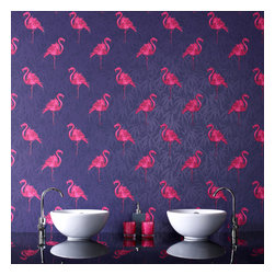 Graham & Brown - Flamingo Wallpaper - Terrifically tropical, our pink flamingo wallpaper is a classic of 70s-style retro design that will liven up any room. The motif of bright pink flamingos contrasts vibrantly against a background of purple with a striking palm tree design. This is the perfect choice for those with adventurous tastes and an eye for vintage extravagance.