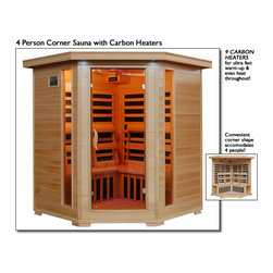 "Blue Wave - Blue Wave 4Pers Corner Carbon Sauna - Tucson - 4 Person Infrared Sauna With Carbon Heaters - Corner Unit The Tucson 4 Person Corner Infrared Sauna Is Perfect For Relaxing And Rejuvenating. It Fits Conveniently Into The Corner Of The Room, And The Natural Hemlock Wood Color Will Enhance Any Decor. Its Dual Interior And Exterior Led Control Panels Allow For Easy Temperature Control. Tucson Is Available With Carbon Heaters, And Is Loaded With Tons Of Extras, Including Towel Hooks, Magazine Rack, Cd Player With Mp3 Plug-In, Back Rests, Color Therapy Light And An Oxygen Ionizer. The Tucson Is Perfect For Basking In The Warmth With Your Family Or Friends - Add One To Your Home Today! Heaters 10 Carbon Heaters - Other Inferior Sauna Brands Have Only 7 Heaters Or Less. More Heaters Means Your Heatwave Infrared Sauna; Is More Effective! Location - The Tucson Corner Carbon Sauna Has 3 Carbon Heaters On The Left Back Wall, 3 On The Right Back Wall, 2 On The Front Of The Bench And 1 On The Floor. These 9 Carbon Heaters Evenly Bask You In Soothing Infrared Heat. Infrared Wavelength - Heatwave Saunas; Put Out Infrared Wavelengths From 5-12 Microns, Which Are The Portions Of Infrared Heat That Most Benefit The Human Body. Operating Temperature - Heatwave Saunas Operate Up To 141 Degrees F. 2,120 Watts - See Power Distribution Diagram For Individual Heater Location And Wattages. Wood & Construction Heatwave Saunas; Are Made Of Solid Hemlock Wood And Constructed With Tongue & Groove Assembly. The Exterior Of The Sauna Is Stained With An Appealing, Natural Color; The Interior Is Smooth Sanded Natural Wood. Power Requirements This Heatwave Sauna; Uses 120V/20 Amp Power. *Note: Electrical Modifications May Be Required To Accommodate 20 Amp Power. Control Panel Heatwave Saunas; Come Equipped With Dual Easy-Touch Interior And Exterior Led Control Panels - Easily Adjust Your Sauna Settings From Inside Or Outside. Bronze Tinted Glass The Door And Glass Panels On Heatwave Saunas; Are Made Of Beautiful, 7Mm Thick, Bronze Tinted Tempered Glass. The Tint Provides A Bit Of Privacy And Aids In Heat Retention, While Providing The Safety Of Tempered Glass. Lighting Sauna Is Equipped With Interior And Exterior Lighting, As Well As A Color Therapy Light With Remote. Enjoy Some Reading While Basking In The Warmth Of Your Heatwave Sauna; Sound System The Sauna Comes Standard With A Radio With Cd Player And Aux Mp3 Connection With 2 Built In Speakers, So You Can Crank Up Your Favorite Tunes While Soaking Up All The Health Benefits Of Your Sauna! Other Inferior Sauna Brands Make You Pay Extra For This Option, But Every Heatwave Sauna; Comes With A Sound System Standard. Air Vents The Adjustable Roof Vent Allows You To Open The Vent To Bring In Outside Air If Desired. Vent Holes In The Floor Help Provide Air Circulation. Color Therapy Bulb The Color Therapy Bulb Allows You To Bask In Rotating Colors, Or Choose A Steady Stream Of One Of The Seven Available Colors. Enhances The Sauna Experience. Other Sauna Brands Offer This As An Option For An Additional Cost, But The Color Therapy System Is Included With This Heatwave Sauna; An $89.95 Value! Ergonomic Back Rests The 4 Person Heatwave Saunas; Include 4 Backrests, For Ultimate Sauna Comfort. Back Rests Can Be Moved To Any Desired Location, Making Your Sauna Session Even More Comfortable And Enjoyable. Oxygen Ionizer The Included Electronic Oxygen Ionizer Releases Negative Ions, Which Help Purify The Air In Your Sauna, Keeping It Clean And Fresh. The Ionizer Is An Optional Feature With Many Inferior Sauna Brands, But It's Included In This Heatwave Sauna;! A $49.95 Value! Specifications Capacity - The Tucson Will Comfortably Seat 4 People On The Extra Deep Benches That Runs Along The Back Walls Of The Sauna. Product Dimensions - Once Assembled The Tucson Sauna Measures Approximately 59""X59""X75"". See Sauna Dimension Diagram For Details. Product Weight - 400 Lbs Assembly - Heatwave Saunas; Come Partially Assembled, And To Complete Assembly You Will Need 2 People, A Screwdriver, A Ladder And About An Hour. Comprehensive Instruction Manual Is Included, And In A Very Short Amount Of Time Your Sauna Will Be Ready For Use! Warranty 5-Year Warranty On Heaters, Structure & Electrical. 1-Year Warranty On Radio. Certification Heatwave Saunas; Are Proudly Backed By Cetl, Which Is Etl Valid In U.S. And Canada. Shipping Information Shipping Weight - 464 Lbs # Of Cartons - 3 Shipment Dimensions - 78"" X 30"" X 67"""