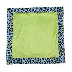 "Jazzie Jungle Boy - Binky Blanket - Binky blanket front and back are designed in green minky and trimmed in the collections ""Cheetah Blue"" cotton print fabric."