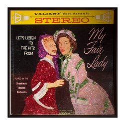 """Glittered My Fair Lady Album - Glittered record album. Album is framed in a black 12x12"""" square frame with front and back cover and clips holding the record in place on the back. Album covers are original vintage covers."""