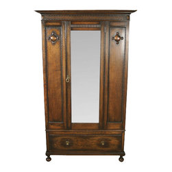 antiques - Consigned Antique Oak Arts & Crafts Mirrorback Buffet Sideboard Server - Origin: England