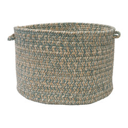 "Colonial Mills, Inc. - Tremont, Teal Utility Basket, 14""X10"" - Soft but sturdy, this wool-blend braided basket is ideal for the kids' room, the playroom, the laundry room or poolside. Made in the USA and available in this exquisite pale neutral, it's a clever way of keeping clutter under control."