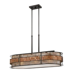 Quoizel - Quoizel MCLG337RC Laguna Kitchen Island Light - This mica piece is an addition to the Quoizel Naturals collection and features a mosaic tile stripe, which appears to be floating around a taupe mica shade. The tiles have a coppery shimmer for an added touch of elegance.    It provides a warm and inviting accent for most any home.