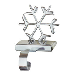 Tag Ltd. - Snowflake Stocking Holder - Metal Holder with polished silver finish. Embossed detail. Weighted for stability.