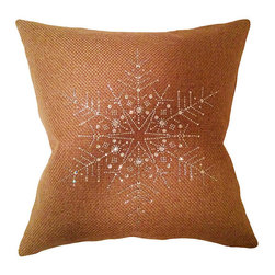 Frontgate - Shimmer and Metallic Crystal Whiteflake Pillow - Snowflake design pillow embedded with crystals. Woven burlap-basketweave textured fabric. Pillow back coated with subtle gold metallic for extra sheen. Zipper closure for ease of care. Double cotton cover duck down insert. To quickly transform couches and love seats brimming with holiday spirit, add a metallic pillow shimmering with snowflake crystals. Woven burlap-textured fabric includes a large snowflake design on the front with a subtle gold metallic coating on the back for extra sheen. A delightful addition to holiday decor accessories!  .  .  .  .  . Imported.