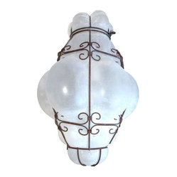 Alabaster Hand Blown Venetian Glass Chandelier