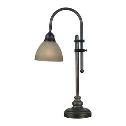 Kenroy Home - Kenroy 20994BH Callahan Desk Lamp - Handsome task lighting, with the look of aged Bronze and warm, smooth glass bowls, complements a traditional motif.  The dual purpose torchiere and versatile desk lamp bring classic understated details and plenty of style.