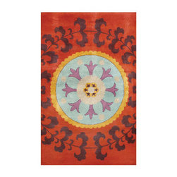 Grandin Road - Suzani Area Rug - 5' x 8' - Our Suzani Area Rug pays faithful tribute to a time-honored, traditional suzani motif. Premium hand-tufting creates a comfortable floor covering with enduring character. A captivating blend of red, aqua, and orange hues. 100% pure, hand-spun wool. Professional cleaning recommended. Bold and colorful, our Suzani Area Rug cleverly marries a modern aesthetic with traditional design – beautifully. A striking way to bring new life to your floors while providing softness underfoot. . . .  .  . Imported.