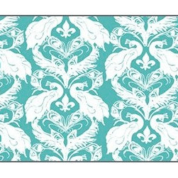 Casart coverings - French Damask, Azure/White Wallcoverings, Azure/White, Large Roll (52 Sq Ft), Ca - French Peacock Damask is unmistakably French with its fleur de lis!
