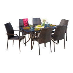 Great Deal Furniture - Bessemer Outdoor 7pcs Cast Aluminum Wicker Dining Set - The Bessemer outdoor cast and wicker set is a perfect addition to add some style to any outdoor living space. This unique set combines a cast aluminum table with versatile polyurethane wicker chairs to create an interesting touch of expression to your backyard or patio.