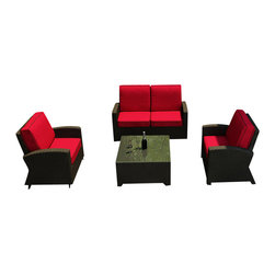 Forever Patio - Barbados 4 Piece Outdoor Wicker Sofa Set, Flagship Ruby Cushions - Comfort and style are combined with the incredibly modern Forever Patio Barbados 4 Piece Wicker Outdoor Sofa Set with Red Sunbrella cushions (SKU FP-BAR-4SS-EB-FB). The patio sofa set seats up to 5 adults comfortably, and features Ebony wicker with a flat-woven design, which accentuates the clean lines and contemporary style of the set. Each strand of this wicker is made from High-Density Polyethylene (HDPE) and is infused with its rich color and UV-inhibitors that prevent cracking, chipping and fading ordinarily caused by sunlight, surpassing the quality of natural rattan. The set is supported by thick-gauged, powder-coated aluminum frames that make it extremely durable. Also included are fade- and mildew-resistant Sunbrella cushions. The deep seats and plush cushions make this outdoor wicker sofa set a delight to enjoy with family and friends.