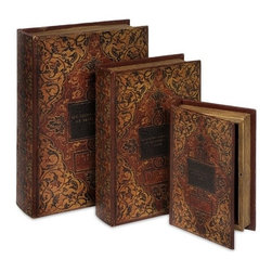 "IMAX - Jarrow Book Box Collection Set of 3 - Traditional faux leather red/golden filigree detailed jarrow book box collection Item Dimensions: (9.5-12.5-14.5""h x 6.5-8.25-10.5""w x 2-2.25-3.75"")"