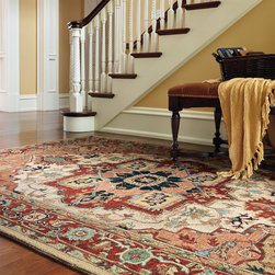 """Frontgate - Phoenix Hand-hooked Wool Area Rug - 100% pure virgin wool, pile. Hand-hooked to a sturdy cotton backing. Safavieh rugs are easy to care for. Depending on the size, slight variations in the border design may occur in these unique and individually crafted area rugs. 1/2"""" thickness. Our Phoenix Hand-hooked Wool Area Rugs are produced from 100% high-mountain wool. Made exclusively for Frontgate by Safavieh, these rugs harken back to ancient motifs.100% pure virgin wool, pile. . . . . Learn more about the origins of Persian rugs."""