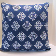 Pillow Covers 18 Inch Gorgeous Ocean Blue and White by vertzvkv