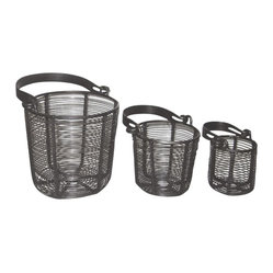 Wire Baskets with Flat Handle
