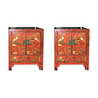 Pair of Antique Red Chinese Cabinets with Hand-Painted Chinoiserie Finish - Pair of Antique Red 19th C. Chinese Cabinets with Hand-Painted Chinoiserie Finish