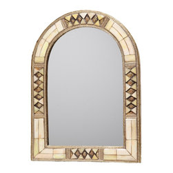 """17"""" Moroccan Arched White Bone Mirror - This exquisite arched mirror is framed with hand-carved bone and hand-embossed metal."""