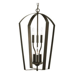 Progress Lighting - Progress Lighting P3929-20 Gather Six-Light Candelabra Foyer Pendant with Flat - A flattened metal cage protects the six candelabra bulbs of this foyer pendant.Features: