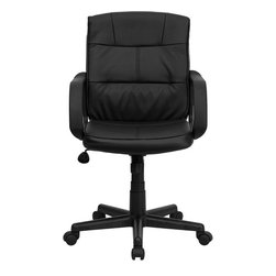 Flash Furniture - Mid-Back Black Leather Office Chair with Nylon Arms - Affordable leather computer chair will provide you with the comfort needed for browsing the internet. The mid-back design makes it a perfect desk chair especially for smaller work spaces, but still doesn't compromise on its appeal and features.