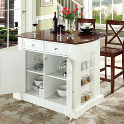 Crosley Furniture - Breakfast Bar Top Kitchen Island with Cherry - Includes two stools. Drop leaf for additional space or dining. Sculpted edges on each end of top. Open storage with adjustable shelves on each end. Brushed nickel hardware. Gorgeous diamond accents and fluted pilasters. Two adjustable shelves behind doors. Warranty: 90 days. Made from solid hardwood and wood veneers. White finish. Made in Vietnam. Stool height: 24 in.. Min: 48 in. W x 23 in. D x 36 in. H (221 lbs.). Max: 48 in. W x 35 in. D x 36 in. H (221 lbs.). Assembly instructions - Drop leaf Kitchen Island. Assembly instructions - StoolThis kitchen island is designed for longevity. The handsome raised panel doors and drawer fronts provide the ultimate in style to dress up any culinary space. Raise the drop leaf to expand your serving space, or just sit at the breakfast bar and eat your meal. Open storage on both ends provides easy access to frequently used items, and is perfect for displaying decorative objects. Style, function, and quality make this kitchen island a wise addition to your home.