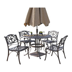 "Home Styles - Home Styles Biscayne 5PC 48"" Round Outdoor Dining Set in Black Finish - Home Styles - Patio Dining Sets - 5554328 - The five piece outdoor dining set is a dominating set that will draw every eye to the intricate detailed metal work._� Constructed of solid cast aluminum it is more substantial than hollow aluminum or tubular outdoor furniture and is durable lasting year after year._� Need another incentive?_� The set is maintenance free!_� The table is designed to accommodate an outdoor umbrella and umbrella stand._�"