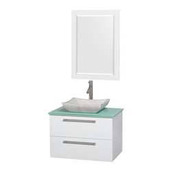 "Wyndham Collection - Amare 30"" Bathroom Vanity White, Green Glass Top & Avalon White Marble Sink - Product Features:"