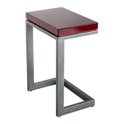 Hue Collection - Cabernet Laptop / Libations Side Table - Cabernet red porcelain enamel topped table, with matte mil scale steel base.