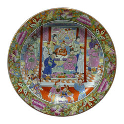 Golden Lotus - Chinese Porcelain Canton Color Scenery Plate - This is a decorative porcelain plate with oriental Canton color graphic handpainted on the surface. Not for serving.